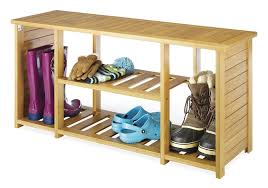 Bench With Shoe Storage Whitmor Bamboo Storage Bench Home Kitchen