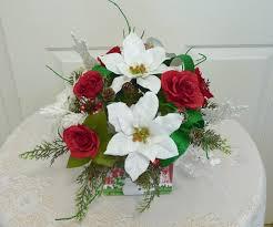 artificial arrangement with poinsettias silk florals