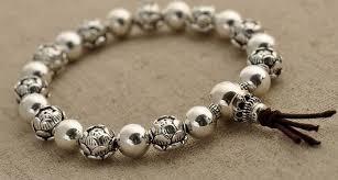 bracelet beads silver images Handmade 9mm 925 sterling silver lotus beads mala bracelet jpg