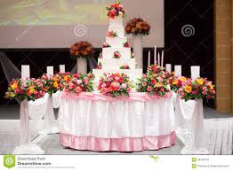 Decorate Cake Decorate With Pink Rose Flower And Candle For Wedding
