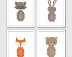 animal nursery prints woodland baby wall art woodland