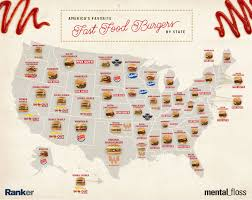 A Map Of The Us A Map Of The Most Popular Fast Food Burgers In Every State