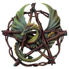 forest pentagram dragon plaque by anne stokes wicca witchcraft