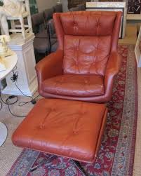 Swivel Reclining Armchair Danish 1960s Red Leather Swivel Recliner Armchair And Footstool