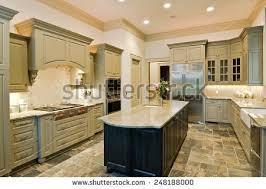 luxury kitchen new cabinets slate floor stock photo 248188000
