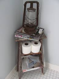 old ladder turned magazine rack i have a stool that might work