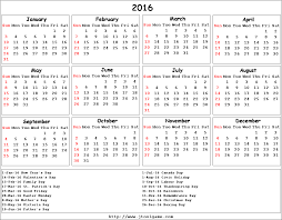 2016 printable calendar with holidays
