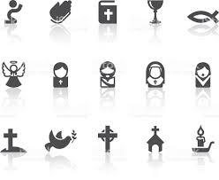 christian icons simple black series stock vector art 160580234