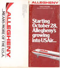 Piedmont Airlines Route Map by Airline Timetables Allegheny Airlines September 1979