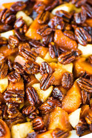 glazed sweet potatoes with honey and pecans