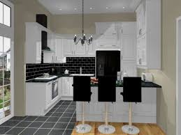modern black kitchen design ideas with marble flooring tile also