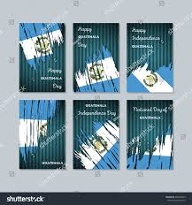 guatemala patriotic cards national day expressive stock vector
