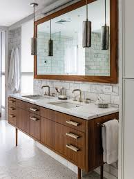 bed bath mid century modern bathroom remodel with vanity mirror