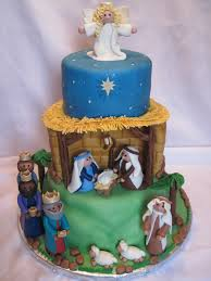 happy birthday jesus three tiered vanilla cake decorations