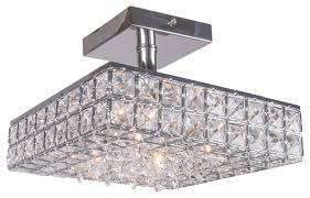 Crystal Flush Mount Ceiling Light Fixture by 4 Light Crystal Square Semi Flush Mount Light In Chrome Finish