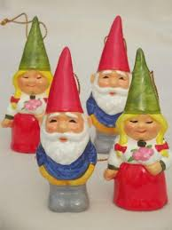 tiny book of gnomes lot of gnome tree ornaments 70s
