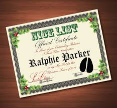 custom printable nice list certificate from santa claus