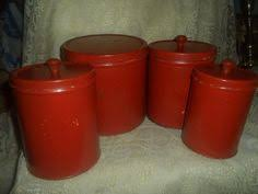 4 vtg orange red retro kitchen canisters nesting storage