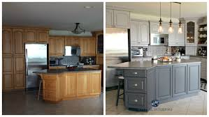 before and after painted oak kitchen cabinets in gray m e