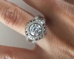 vintage halo engagement rings antique halo ring etsy