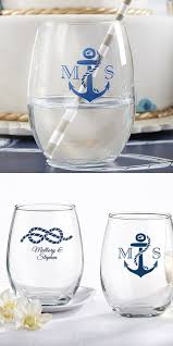 wine glass with initials 9 oz personalized stemless nautical wedding wine glasses