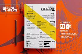 yellow line resume template resume templates creative market