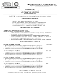 resume for cna exles relevant skills resume cna chronological resume template with