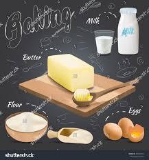 set vector baking ingredients design butter stock vector 438620725