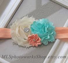 mint green headband mint green ivory wedding flower headband soft satin and