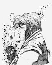 wip gambit inked by evilfuzz on deviantart lineart gambit x