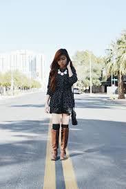 s boots knee high brown s black and white polka dot skater dress black studded