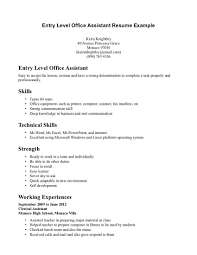 Office Resume Sample by Resume Examples For Administrative Assistant Entry Level