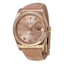 diamond rolex rolex datejust pink diamond dial 18k everose gold automatic ladies