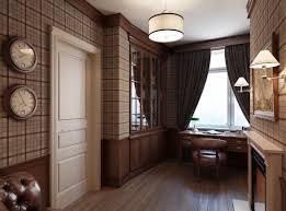plaid wallpaper masculine study interior design ideas