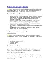 Sample Objectives On Resume Construction Estimator Resume Business Economics Economies
