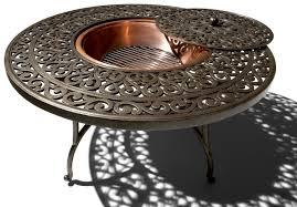 Outdoor Furniture With Fire Pit Table furniture awesome round fire pit table with hexagon padestal and