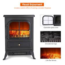 portable 1500w electric fireplace freestanding stove heater