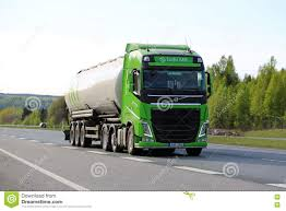 volvo semi lime green volvo semi tank truck on motorway at spring editorial