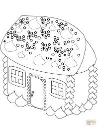 gingerbread man near the house coloring page free printable