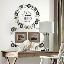 roommates floral wreath quote w embellishments peel and stick