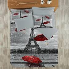 Colorful Queen Comforter Sets Paris Bedding Full Size Set With Eiffel In Rainy Day Comforter
