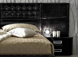 bed w 2 nightstands in black glossy leather with options