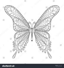 hand drawn zentangle tribal butterfly pattern stock vector