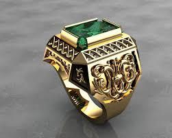 mens ring gold signet rings mens rings 3d printable model cgtrader