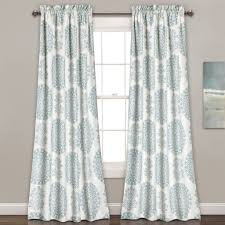 Blue And White Window Curtains Evelyn Medallion Room Darkening Window Curtain Pair