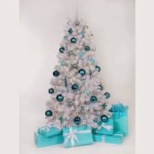 White Christmas Tree Decorated Christmas Tree Decorations Light Blue Holliday Decorations