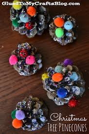 christmas tree pinecones kid craft glued to my crafts