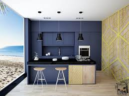 Kitchen Cabinet Vinyl Kitchen Navy Beach Themed Kitchern Navy Central Wall Black Bench