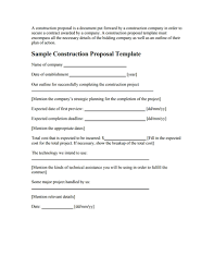 construction proposal template free download create fill u0026print