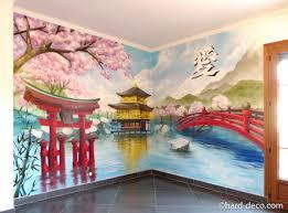 Peinture Cerisier Japonais by Fresque Asiatique Geisha Pagode Torii Cerisiers Mont Fuji